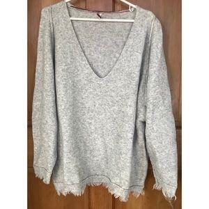 Free People Soft Gray V Neck Fringe Sweater M
